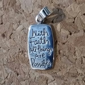 925e Jewelry - With Faith All Things Are Possible Silver Dog tag